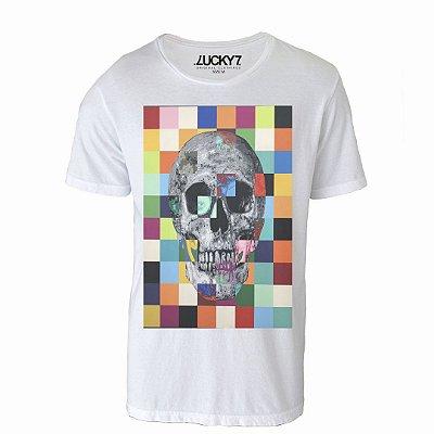 Camiseta Lucky Seven - Caveira Pixels