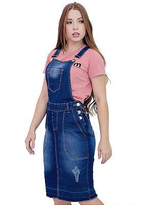 Jardineira Saia Jeans Evangélica 5 Bolsos Anagrom Ref.4045