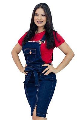 Jardineira Jeans Moda Evangélica Com Laço Anagrom Ref.4043