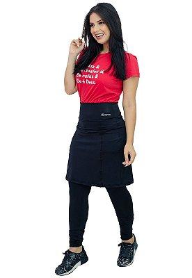 Calça com Saia Moda Evangélica Fitness Preta Anagrom Ref7006