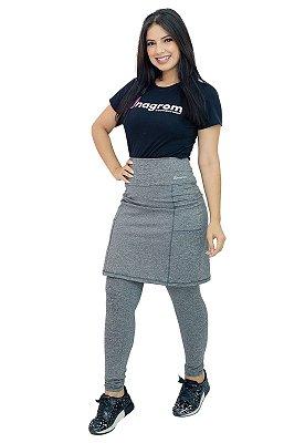 Calça com Saia Moda Evangélica Fitness Cinza Anagrom Ref7008