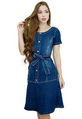 Vestido Jeans Moda Evangélica Evasê de Laço Anagrom Ref.5018