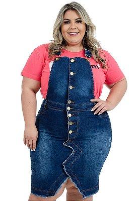 Jardineira Jeans Plus Size Moda Evangélica Anagrom Ref.11001