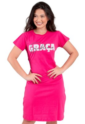 Vestido T-Shirt Rosa Moda Evangélica Frases Anagrom Ref.V014