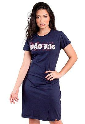 Vestido T-Shirt Azul Marinho Moda Evangélico Anagrom RefV021