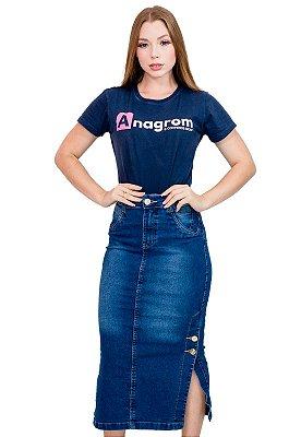 Saia Jeans Longa Fenda Lateral Evangélica Anagrom Ref.188