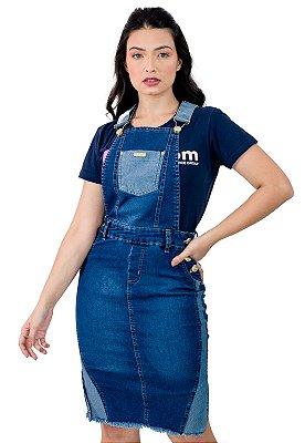 Jardineira Jeans Com Detalhe Moda Evangélica Anagrom Ref4054