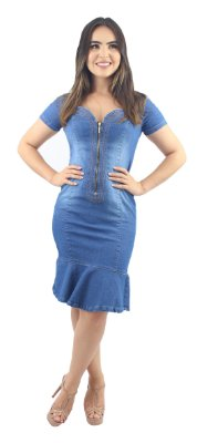 Vestido Jeans Evangélico com Babado Zíper Frontal Delavê Ref.5006