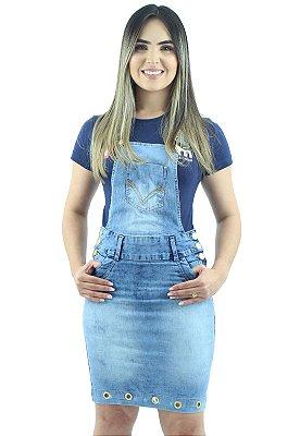 Jardineira Saia Jeans Feminina Azul Claro com Ilhós Ref.4007