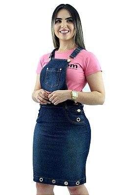 Jardineira Saia Jeans Evangélica com Ilhós Ref.4009