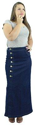 Saia Longa Jeans Azul Botões Laterais Ref.068