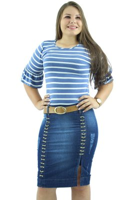 Saia Jeans Corrente Dupla com Cinto Ref.073