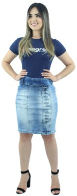 Saia Jeans Evangélica Passantes Transversair Azul Claro Ref.091