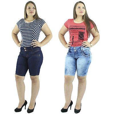 Kit com 2 Bermudas Jeans Moda Pedal