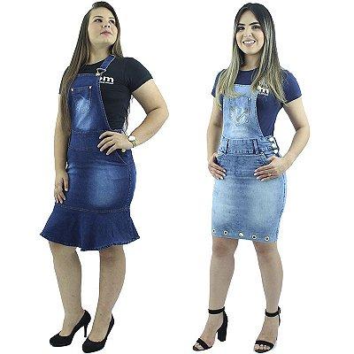Kit com 2 Jardineiras Jeans Modelos Babado e Tubinho