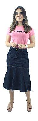 Saia Jeans Longuete com Babado Amaciada Ref.109