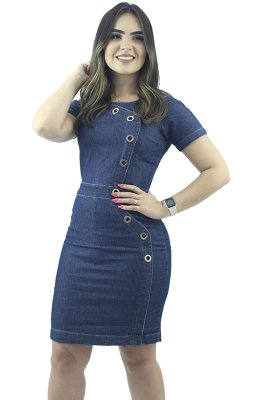 Vestido Jeans Modelo Tubinho com Ilhós Ref.5009