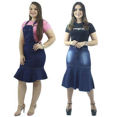 Kit de Jardineira Jeans de Babado + Saia Longuete Jeans