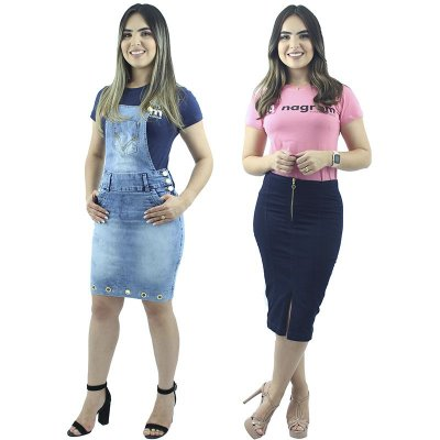 Combo Jardineira Jeans Água + Saia Longuete Zíper