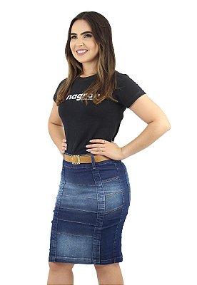 Saia Jeans Evangélica com Pregas Destroyer Pistolada Ref.120