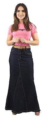 Saia Jeans Longa Detalhe Frontal Amaciada Ref.123