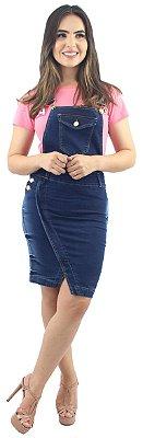 Jardineira Jeans Recorte Transpassado Pinos Laterais Ref.4017