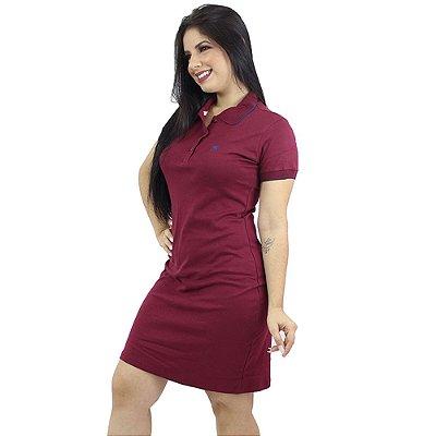 Vestido Gola Polo Malha Vinho Ref. 9004