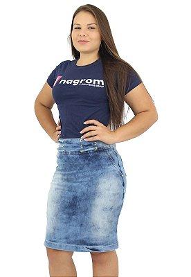 Saia Secretária Jeans Azul Claro Anagrom Ref.137