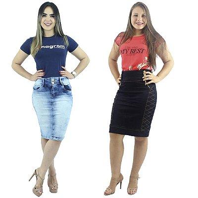 Kit de 2 Saias Secretária Jeans Moda Evangélica