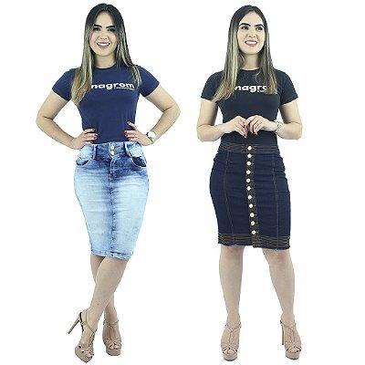 Kit Saia Secretária Azul Claro + Saia Jeans Escuro Botões Frontais