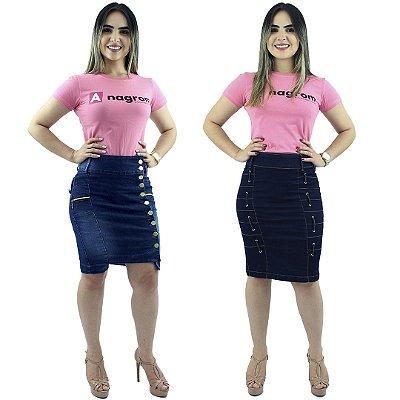 Kit com 2 Saias Médias Jeans Modelos Botões Laterais e Passantes
