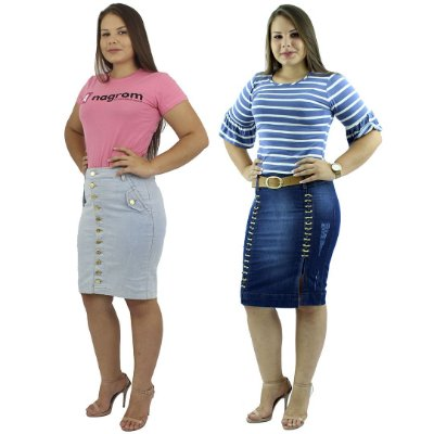 Kit de Saias Secretária Modelos Botões na Frente e Corrente Dupla Jeans