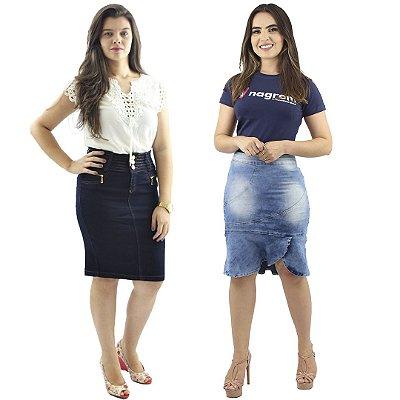 Kit com 2 Saias Jeans com Elastano