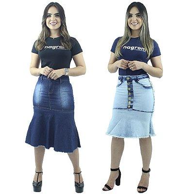 Kit com 2 Saias Jeans Modelo de Babado