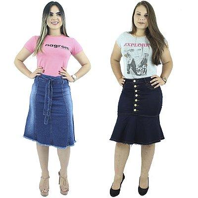 Combo 2 Saias Jeans Sereia Moda Evangélica