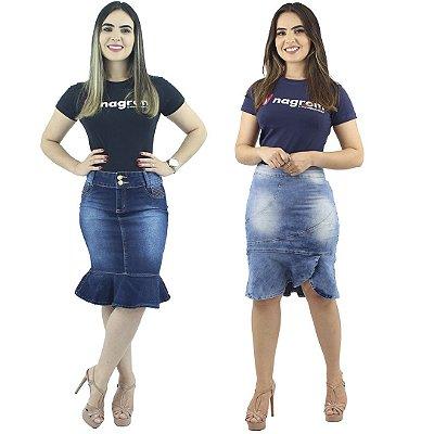 Kit de 2 Saias Evangélica Modelo Babado Jeans