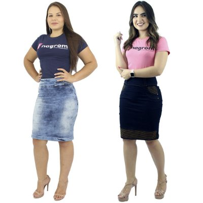 Kit de Saias Secretária Moda Evangélica Jeans Com Elastano