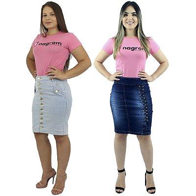 Kit de Saias Executivas Jeans Modelos Botão na Frente e Passantes Lateral