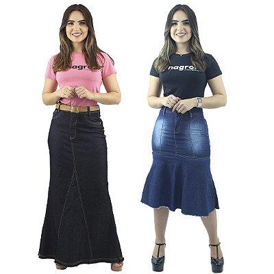 Kit de 2 Saias Jeans Longa Amaciada e Longuete Jeans Destroyed