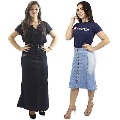 Kit de Saia Longa Jeans detalhe Couro + Saia Longuete Jeans Claro