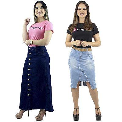Combo de Saia Longa Botões Frontal + Saia Evangélica Jeans Delavê