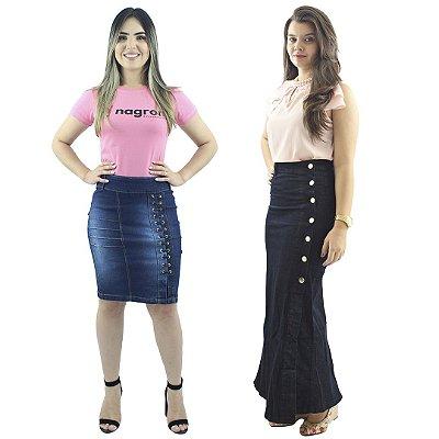 Kit Saia Média Jeans Passantes + Saia Longa Jeans Botões Lateral