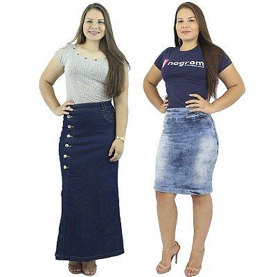 Kit de Saia Longa Jeans Botão + Saia Secretária Azul Claro Jeans
