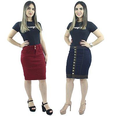 Combo de 2 Saias Secretária Brim Vermelha + Secretária Jeans Escuro de Botão
