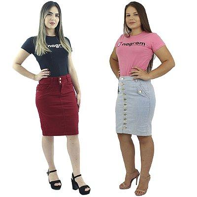 Kit de Saia Secretária Brim Vermelha + Saia Secretária Jeans Com Botões