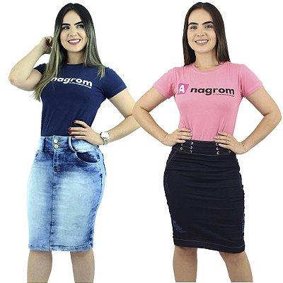 Combo de 2 Saias Médias Jeans Evangélica Anagrom