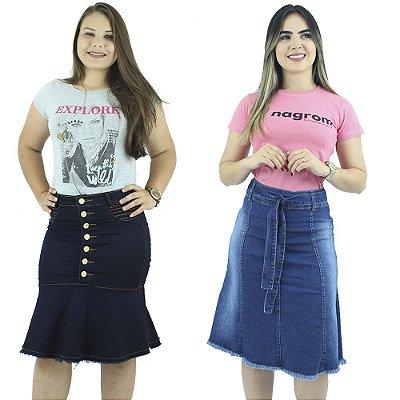 Saia Jeans Moda Evangélica Anagrom Kit com 2