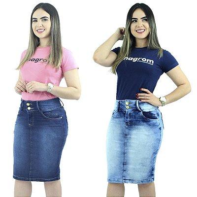 Saias Jeans Azul Anagrom Modelo Secretária Kit com 2