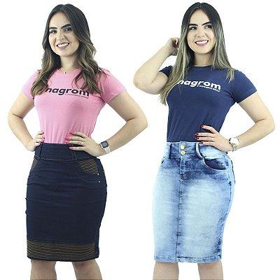Kit de 2 Saias Jeans Cores Diferentes Anagrom