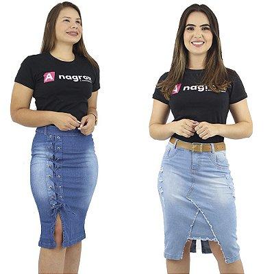 Combo de 2 Saias Jeans no Joelho Modelos Anagrom